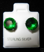 8mm Round Emerald May Birthstone Silver Stud Earrings
